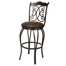 Athena Swivel Barstool with Florentine Coffee Fabric in Autumn Rust