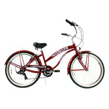 "<strong>Greenline Bicycles</strong> Ladies 26"" 7-Speed Shimano Premium Extended Deluxe Beach Cruiser"