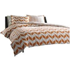 Amelia Duvet Cover Set in Orange & White