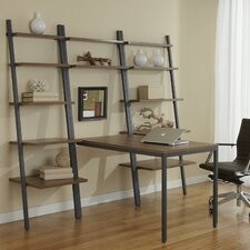 Jesper Office Parson Ladder Bookcases with Peninsula Desk