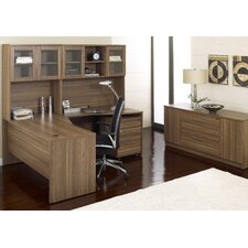 "63"" Crescent Desk Suite with Hutch"