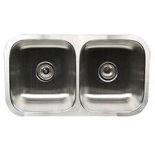 "31.57"" x 17.97"" 50/50 Double Bowl Stainless Steel Kitchen Sink"