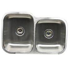 Sconset 60/40 Ratio 16 Gauge Stainless Steel Double Bowl Undermount Sink