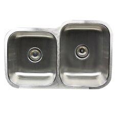 Sconset Reverse 60/40 Ratio16 Gauge Stainless Steel Double Bowl Undermount Sink