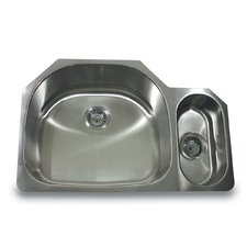 "32"" x 21.25"" 80/20 Undermount Kitchen Sink with Mirror Deck"