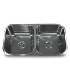 "32.75"" x 18"" 16 Gauge Double Bowl 50/50 Undermount Kitchen Sink"