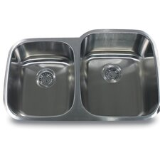 "32"" x 20.75"" 60/40 Double Bowl Stainless Steel Kitchen Sink"