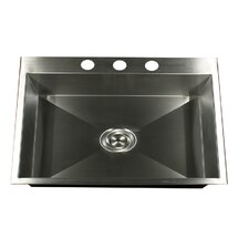 "25"" x 22"" Self Rimming Single Bowl Kitchen Sink"