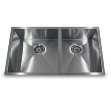 "32"" x 19"" Double Offset Undermount Kitchen Sink"