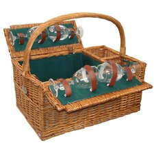 Reservations Wine Picnic Basket for Four in Hunter Green Lining