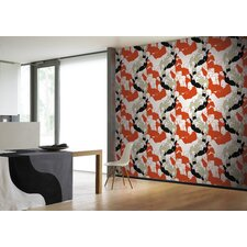 Ystavat Wallpaper in Orange and White by Maija Louekari