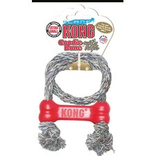 Red Goodie Bone with Rope Dog Toy