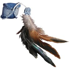 Denim Ball with Feathers Cat Toy