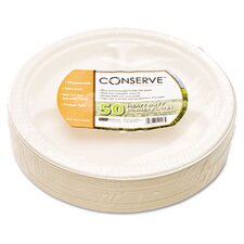 "Conserve Sugar Cane 3-Compartment Plate, 10.25"" Diameter, White, 50/Pack"