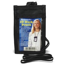 "ID Neck Pouch,Vertical,Adjustable 20"" Cord,3-1/2""x2-1/4"", BK"