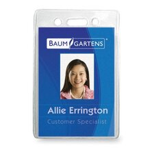 "<strong>Baumgartens</strong> Vinyl Badge Holder,No Clip,Vert,2-3/8""x3-3/8"",12/PK,Clear"