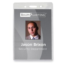 "Badge Holder,Vinyl,Vertical,2-5/8""x3-7/8"",50/PK,Clear"