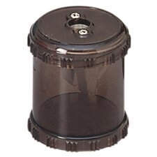 "Plastic Pencil Sharpener W/Receptacle, 1-7/8"" High, Smoke"