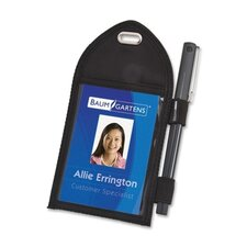 "Badge Holder,w/Pen Loop, Second Pocket, 2-1/4""x3-12"", Black"