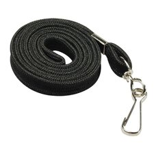 "Flat Lanyard, With Hook, 36"" L, 100 per Box, Black"