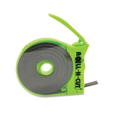 "Magnetic Tape,w/Dispenser, 1/2""x15', Black Tape/Green Disp."
