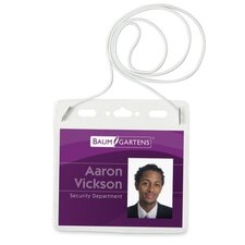 "<strong>Baumgartens</strong> Plastic Badge Holder, Horz W/Elastic Neckcord, 4""x3"", 25 per Pack, Clear"
