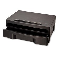 <strong>Officemate International Corp</strong> Monitor Stand W/Drawer, Removable Divd, 4/CT, Black