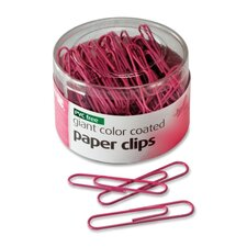 Paper Clips, Coated, Jumbo, 80 Clips per Pack, Pink