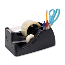"Heavy-Duty Tape Dispenser, Holds 2"" Roll and 3/4"" Roll, Black"