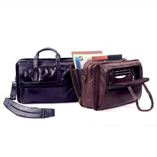 Cowhide Leather Accordion File Briefcase