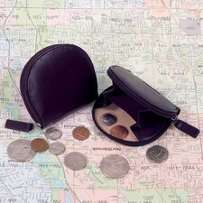 Cowhide Nappa Leather Coin Purse with Zipper Closure