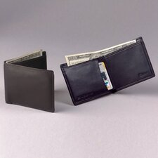 Black Cowhide Nappa Supple Leather Two Fold Wallet