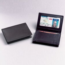 Black Cowhide Nappa Supple Leather Two Fold ID Business Card Case