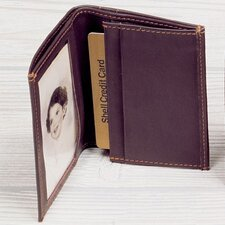 Black Cowhide Nappa Supple Leather Two Fold Business Card Case