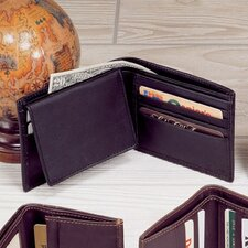 <strong>Winn International</strong> Black Cowhide Nappa Supple Leather Passcase Wallet