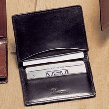 High Polished Cowhide Aniline Leather Two Fold Business Card Case