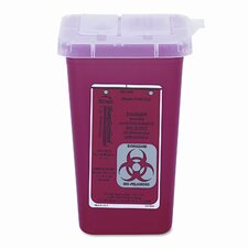 Sharps Waste Receptacle, Square, Plastic, 1qt, Red