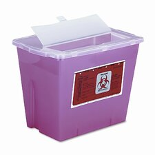 Sharps Waste Receptacle, Square, Plastic, 2gal, Red