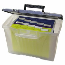 Portable File Storage Box with Organizer Lid