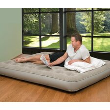 Queen Low Profile Suede Top Air Bed with Built in Pump