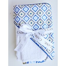 <strong>Caden Lane</strong> Ikat Diamond Hooded Towel Set