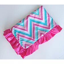 Ikat Chevron Pink Ruffle Blanket