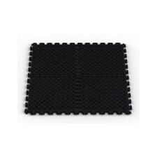 Vented (Drain) Pattern Modular Garage PVC Floor Tile in Black (Pack of 6)