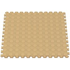 Raised Coin Multi-Purpose PVC Floor Tile in Beige (Pack of 6)