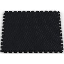 Raised Diamond Pattern Garage PVC Floor Tile in Black (Pack of 6)