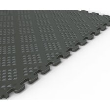 <strong>Norsk Floor</strong> Raised Diamond Pattern Garage PVC Floor Tile in Metallic Graphite (Pack of 6)