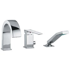 Linea Crui Volume Control Single Handle Roman Tub Faucet with Hand Shower