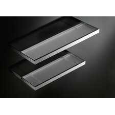 "Skuara 23.6"" Shelf with Safety Frosted Glass in Polished Chrome"