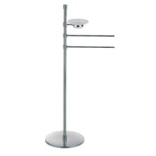 "Complements 10.8"" x 10.8"" Rampin Towel Stand with Two Straight Arms and Soap Dish Dispenser in Polished Chrome"