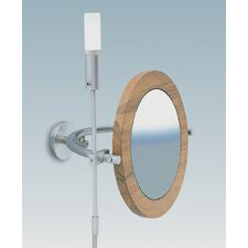 "WS1 Wall-mount Magnifying (5X) Nutwood Frame Makeup Mirror with Halogen Light, 15.9"" Extension"